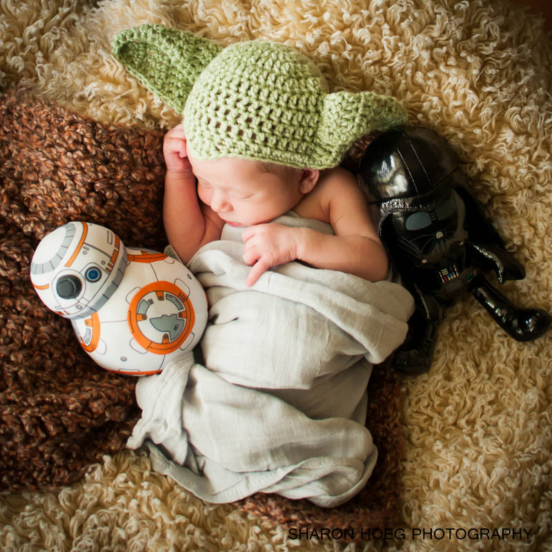yoda hat baby with space toys, Livonia Newborn Photographer