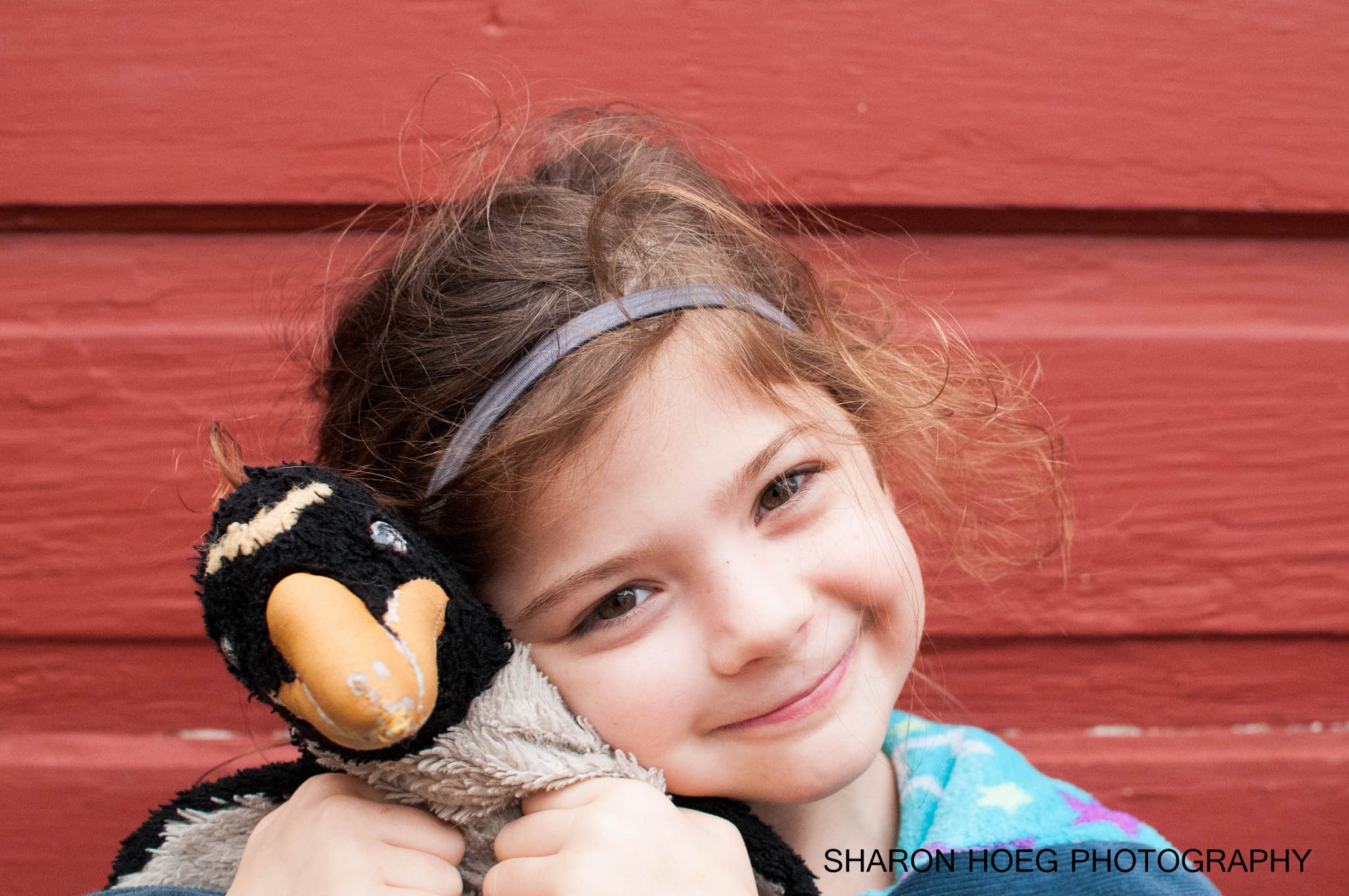 Smiling Girl with stuffed animal, Metro Detroit Child Photographer