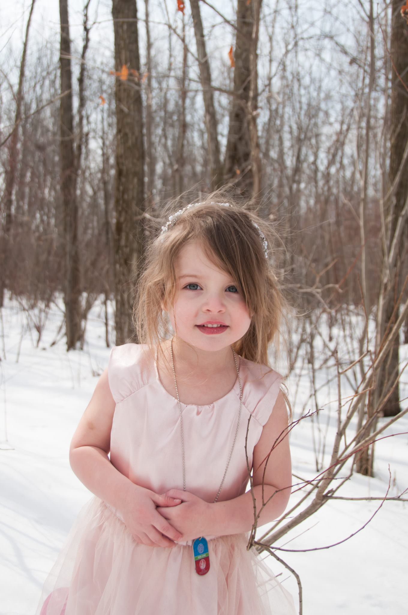 Beautiful young girl in the snow, Northville Child Photography