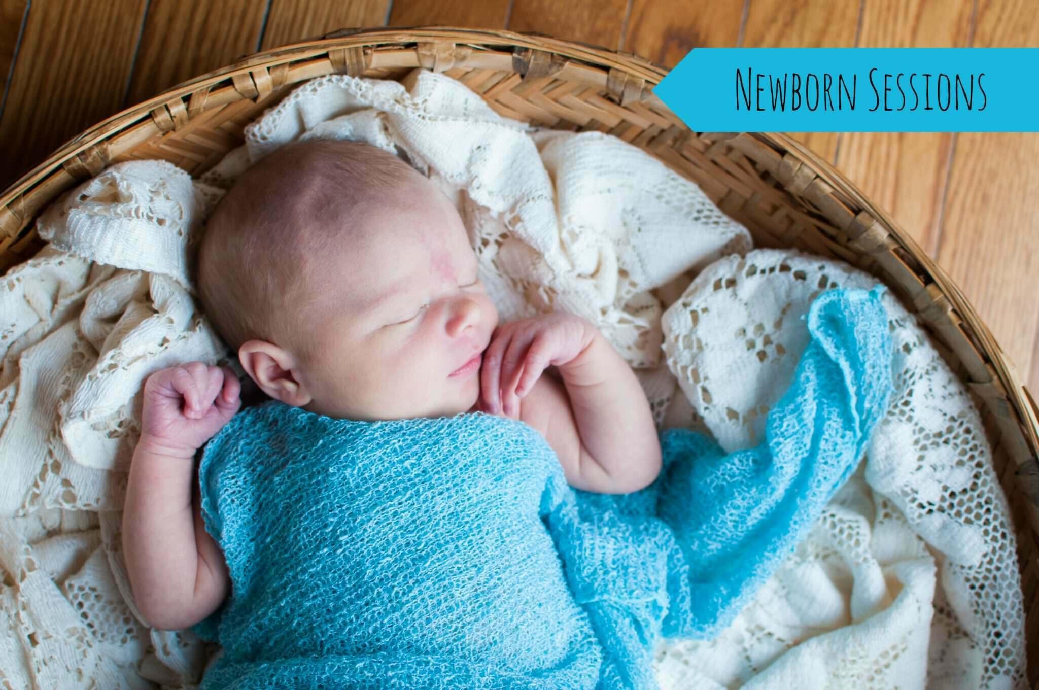newborn in blue wrap, Metro Detroit Baby Portrait Photographer