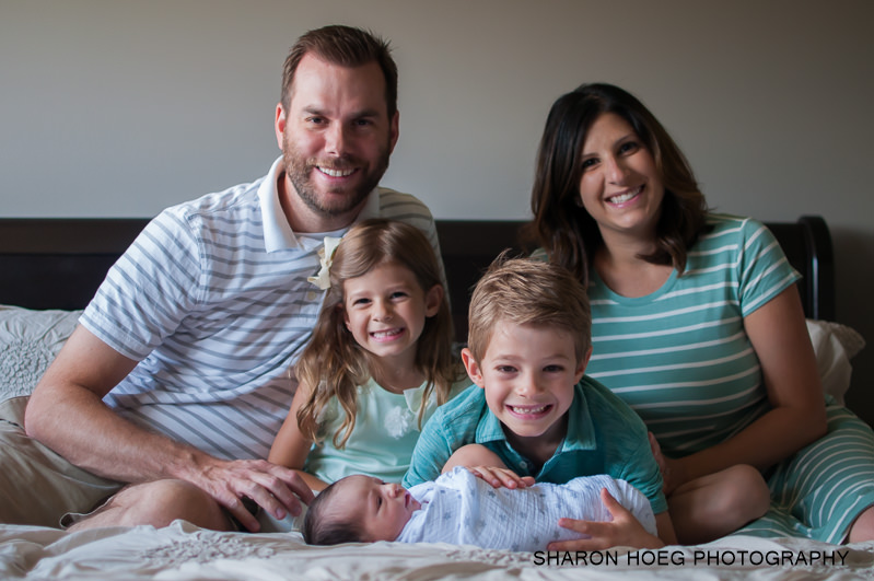 new family of 5 with baby, Northville MI Newborn photographer