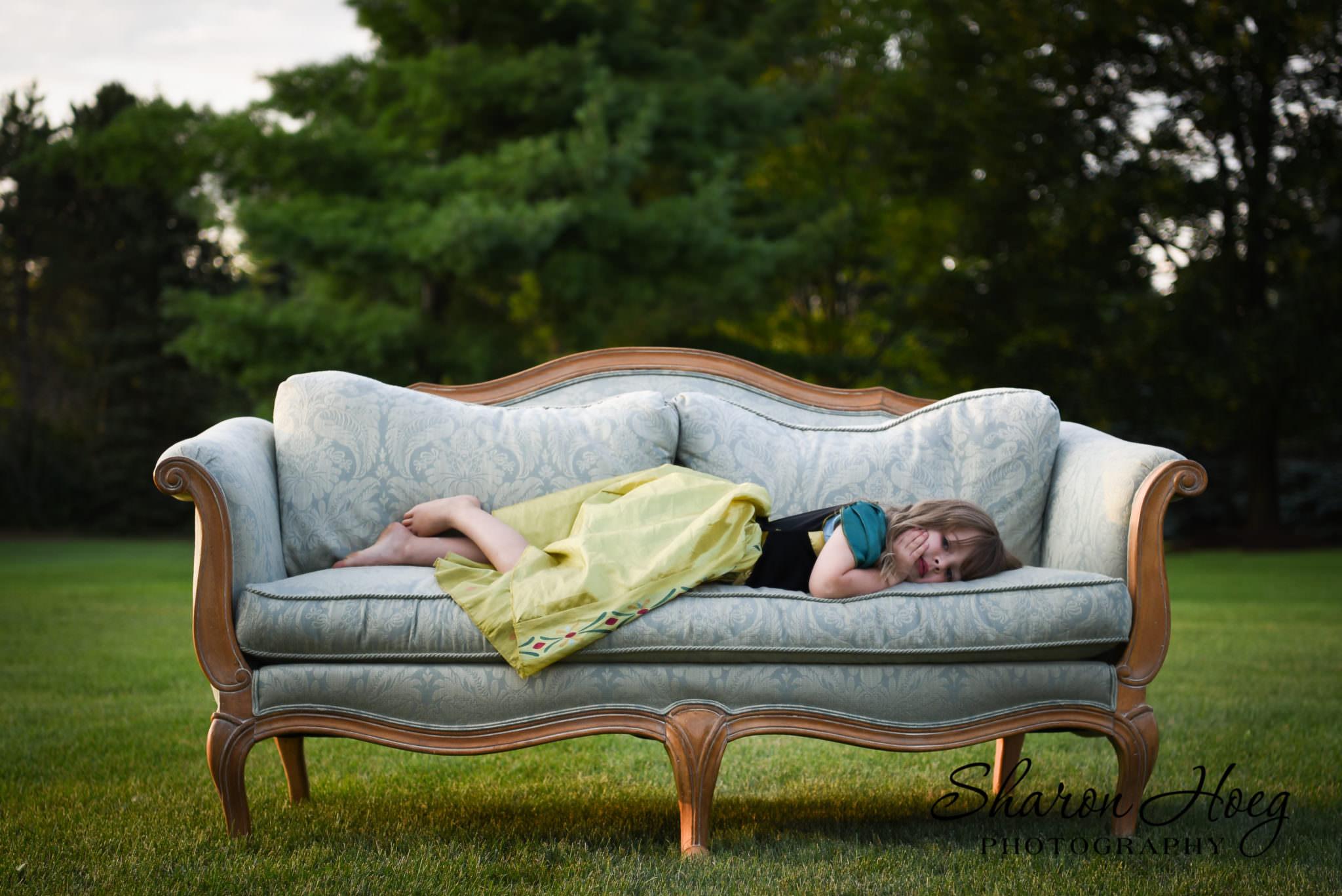 blonde girl wearing princess dress, Northville Child Photographer