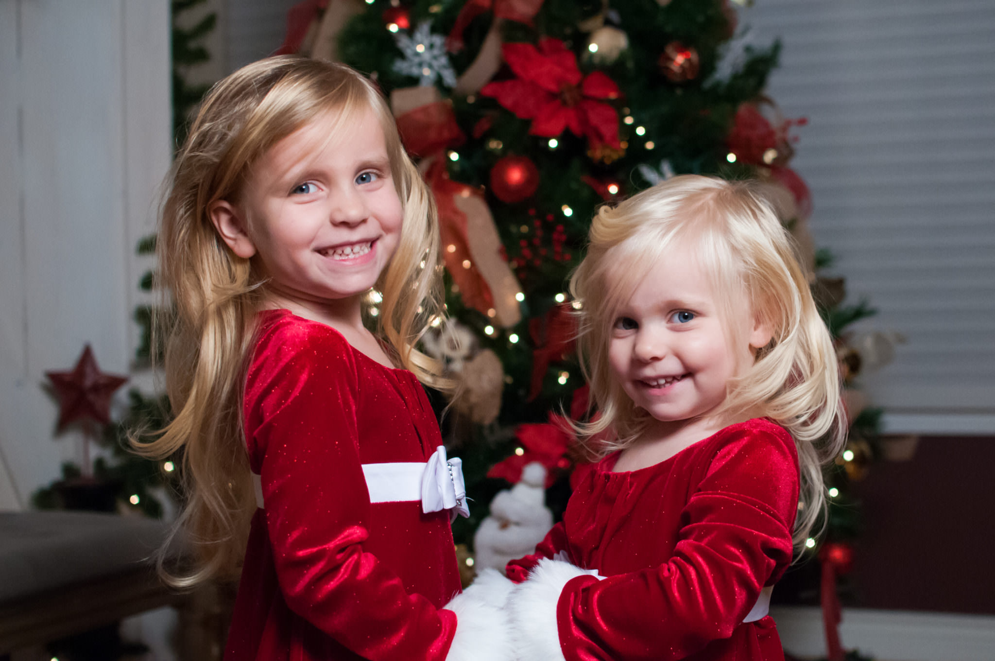 Sisters in Christmas dresses, Northville Child Photographer, Christmas Mini Sessions