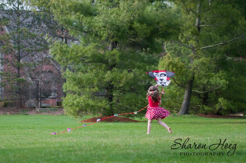 Barefoot girl holding a kite with a long tail, South Lyon Child Photographer