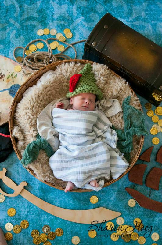 newborn baby dressed as peter pan flatlay, Metro Detroit Newborn Photographer