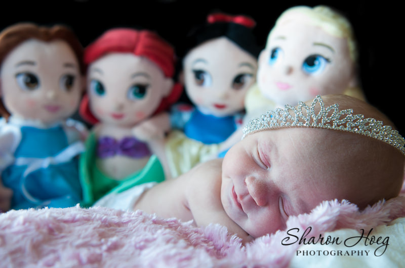 Disney Princess inspired newborn wearing princess crown, Metro Detroit Baby Photography