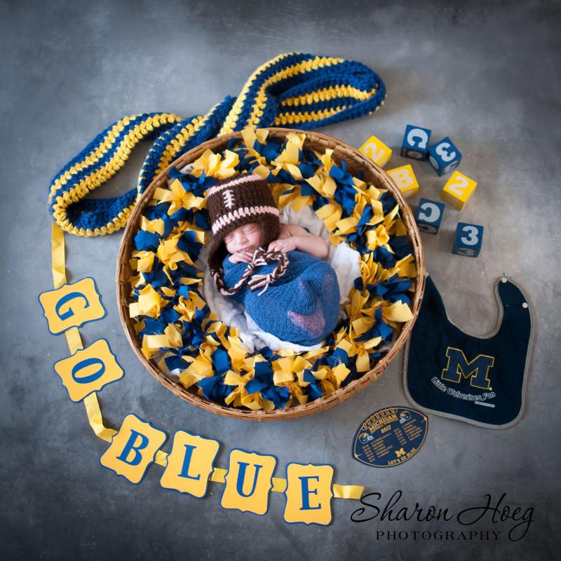 newborn girl in Michigan theme photo, Ann Arbor Newborn Photographer
