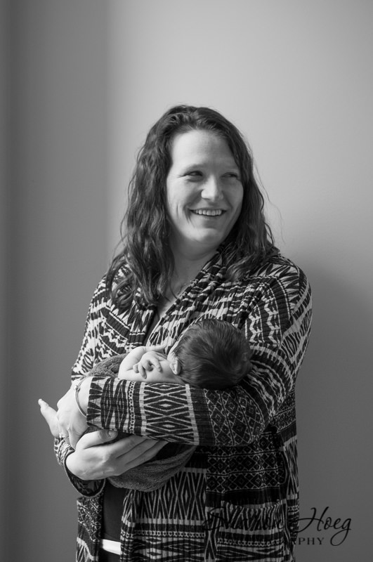 young mom with new baby, Northville Baby Photographer