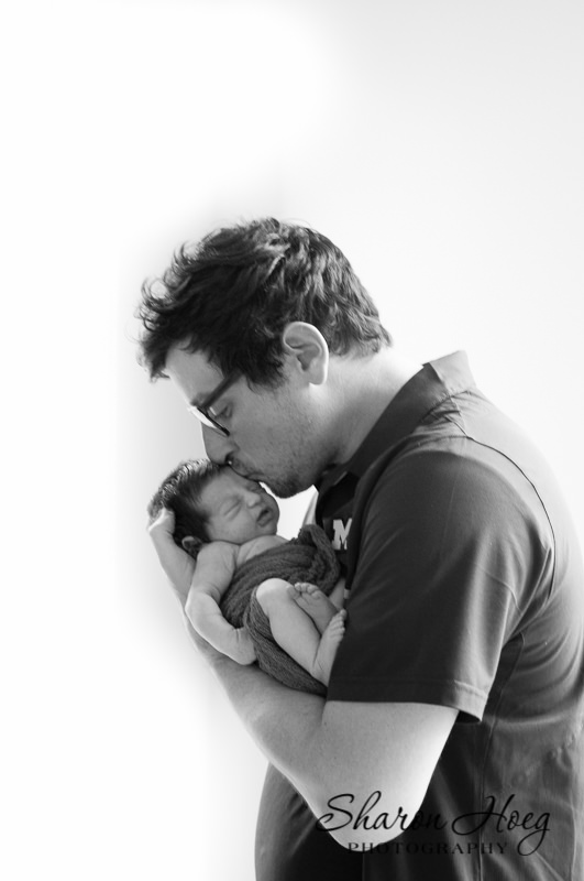 dad and tiny newborn black and white, Plymouth Baby Photographer