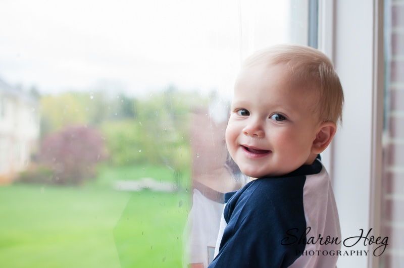smiling one year old boy at the window, Livonia Child Photographer