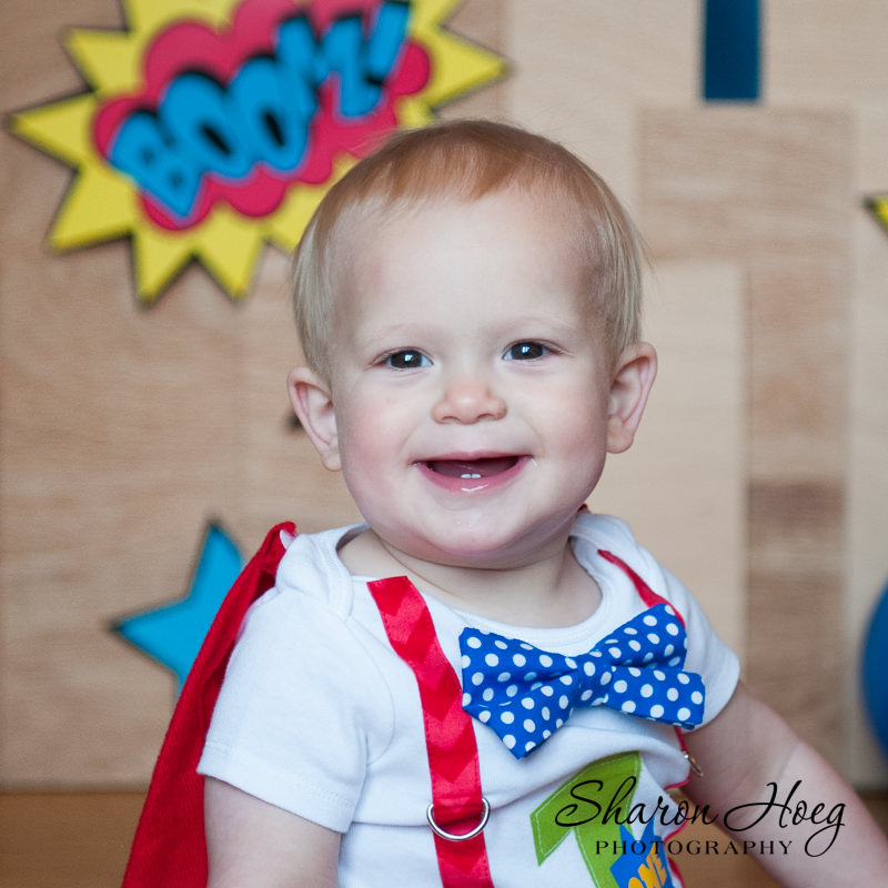 Smiling super hero one-year-old boy, Metro Detroit Child Photography