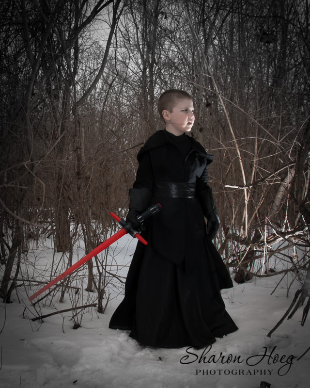 boy dressed in a Kylo Ren costume, Metro Detroit Child Photography