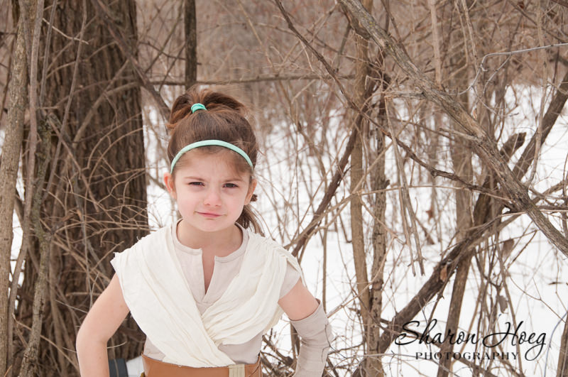 Young girl dressed as Rey, Metro Detroit Child Photographer, Star Wars Photography