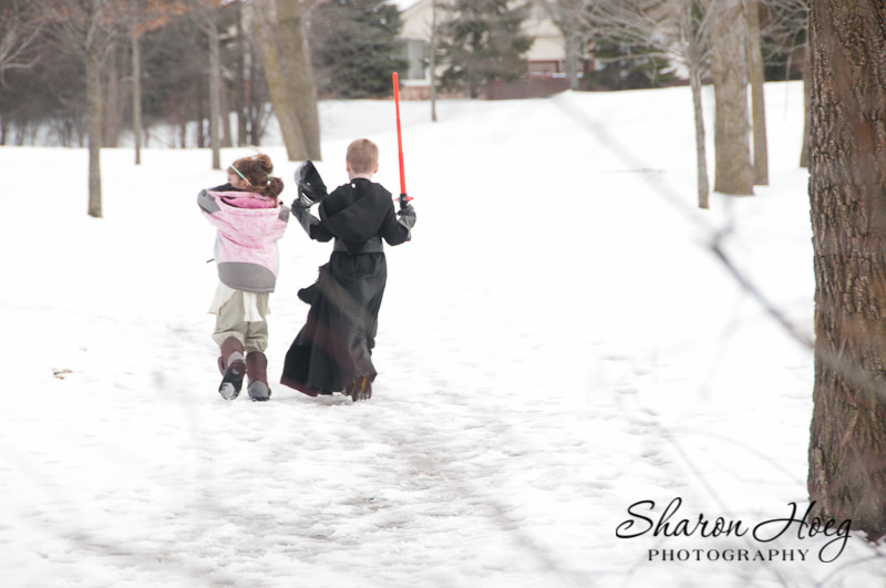 Cousins heading home in the snow, Canton Child Photographer