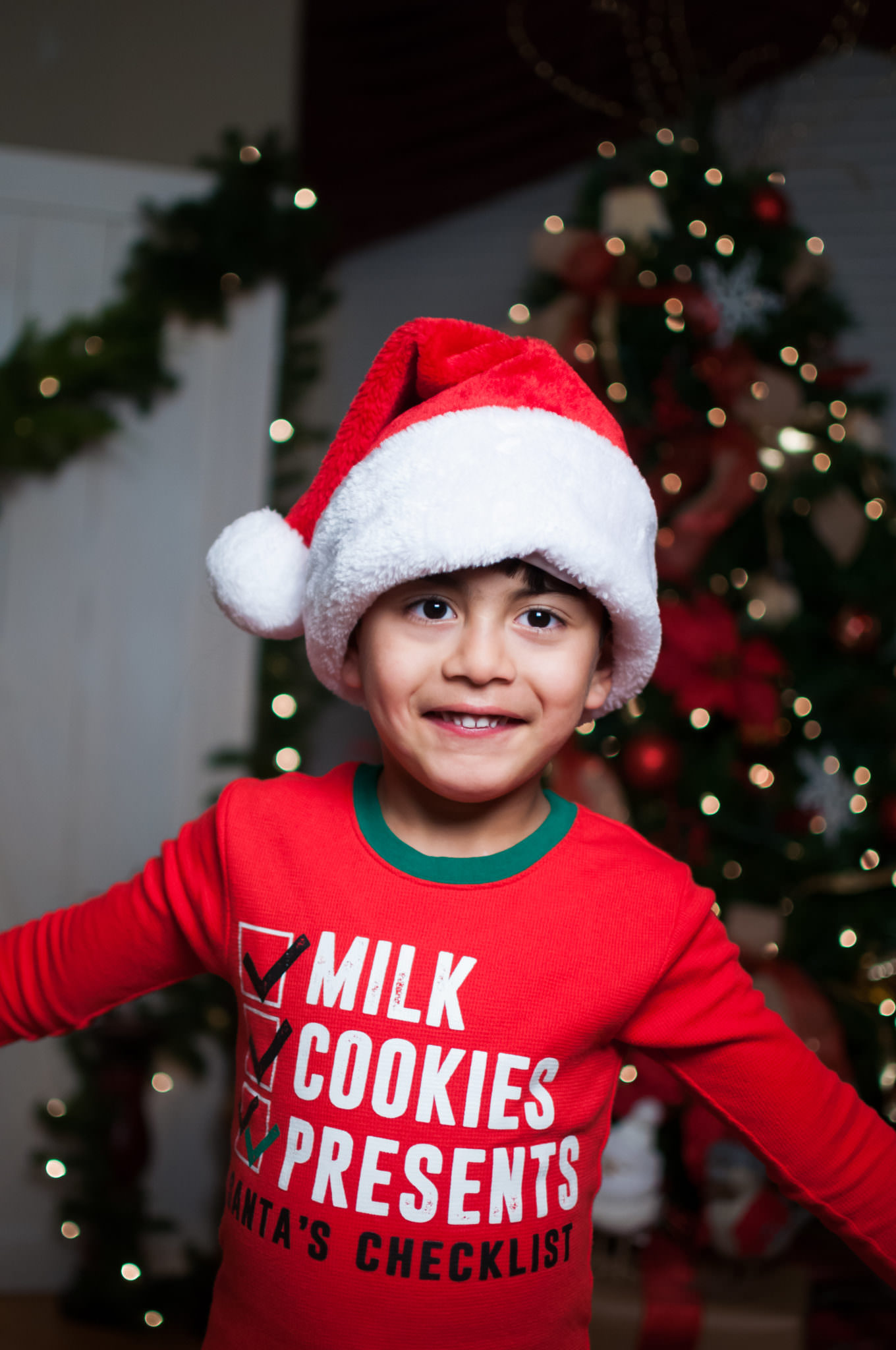 young boy in santa hat and christmas pajamas, metro detroit christmas mini session