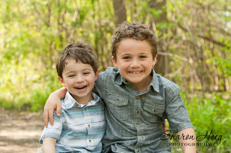 two brothers hugging on a spring day, Metro Detroit Family Photographer