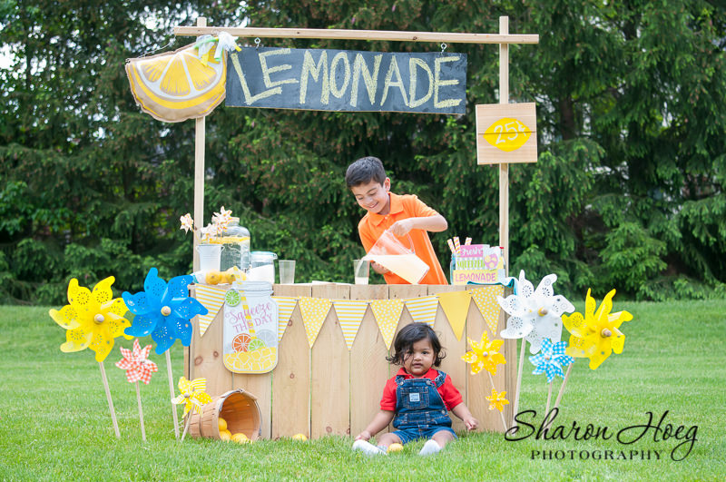 young boys working at a lemonade stand, Metro Detroit Child Photographer