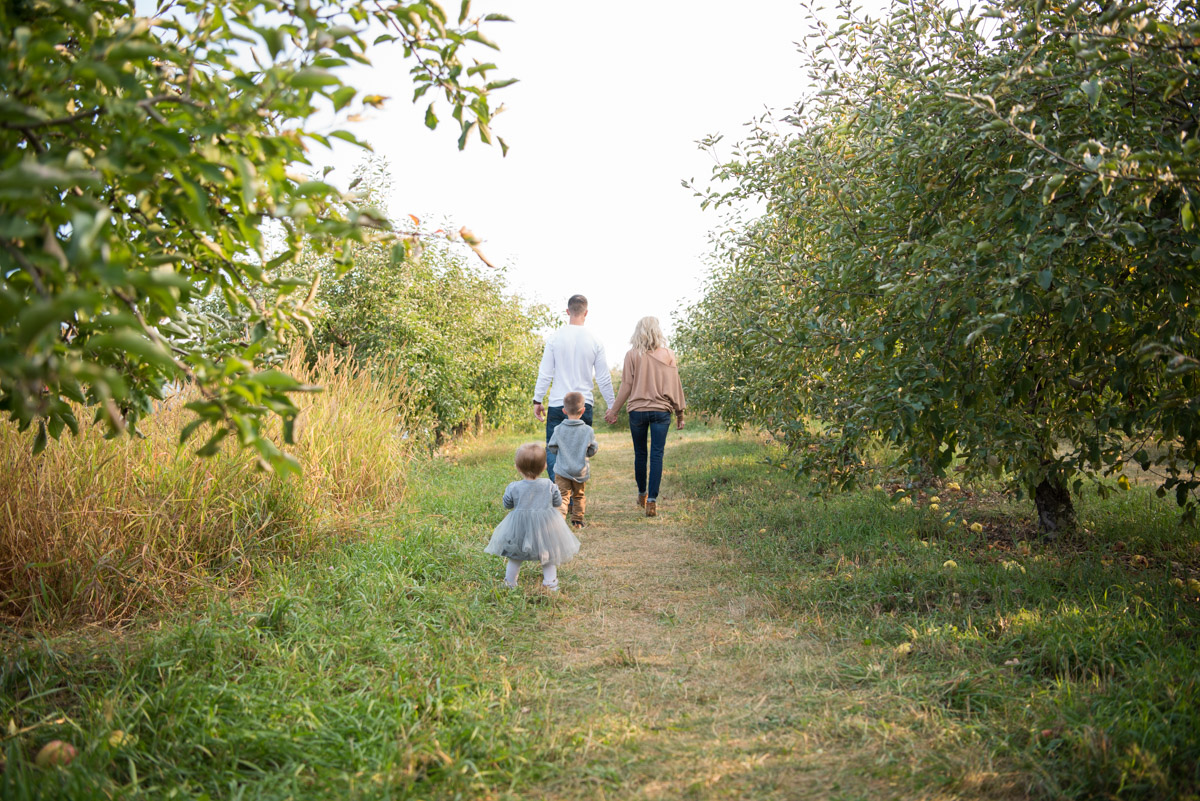 family on a walk in the apple trees, Northville Photographer