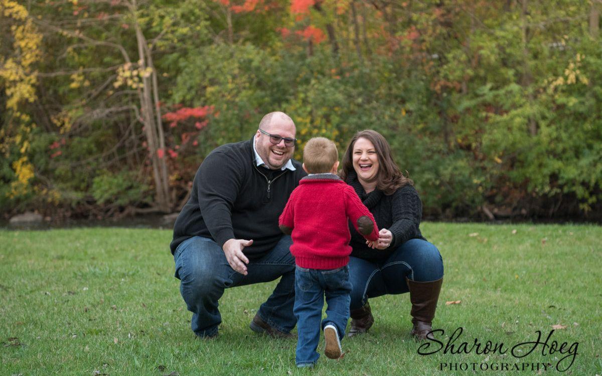 Happy family of three, South Lyon Photographer