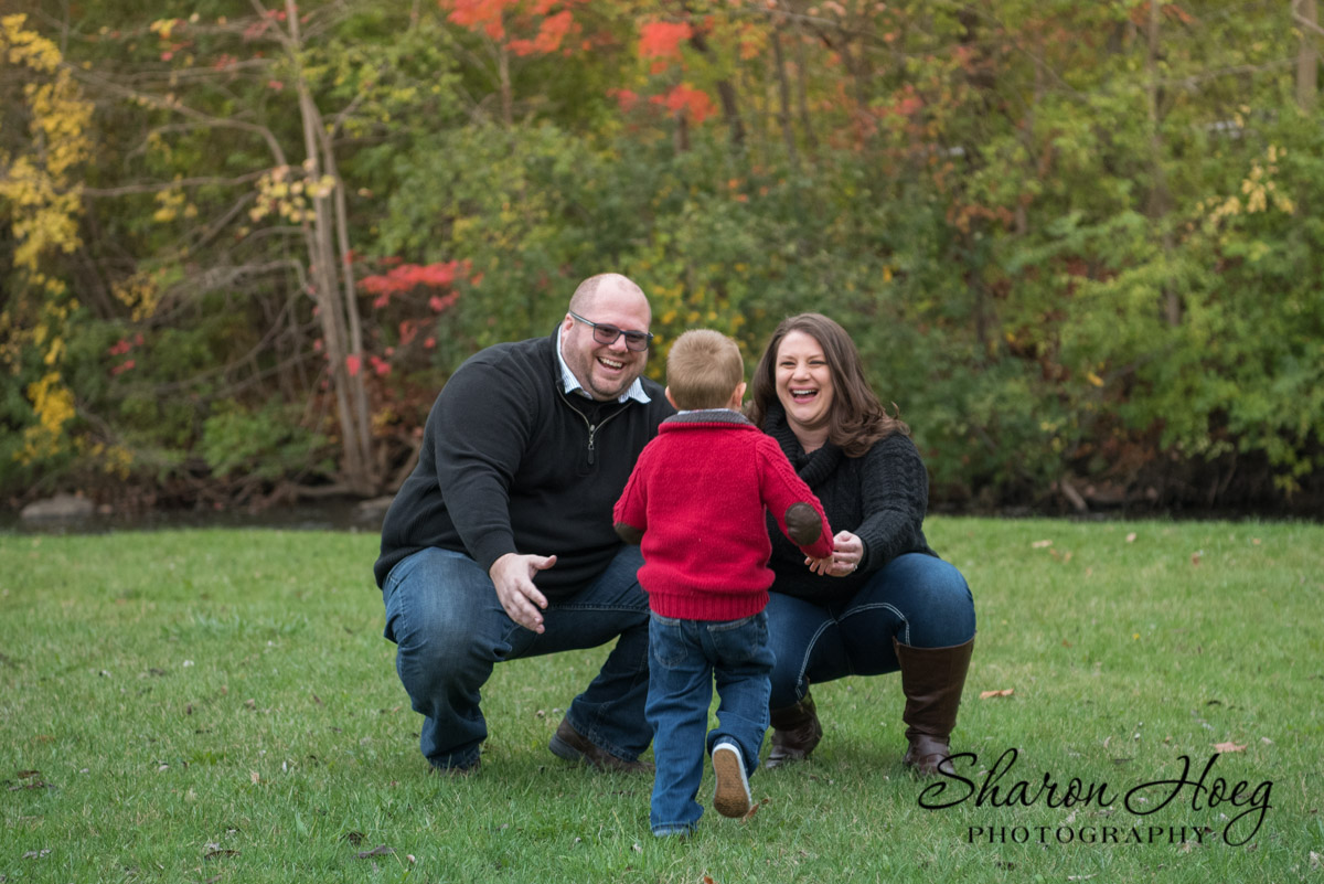 Happy family of three, South Lyon Photographer