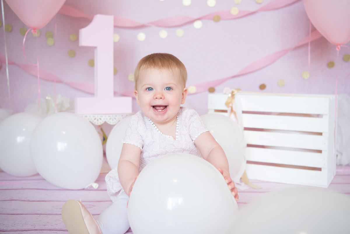 happy one year old girl smiling with teeth, Plymouth Photography