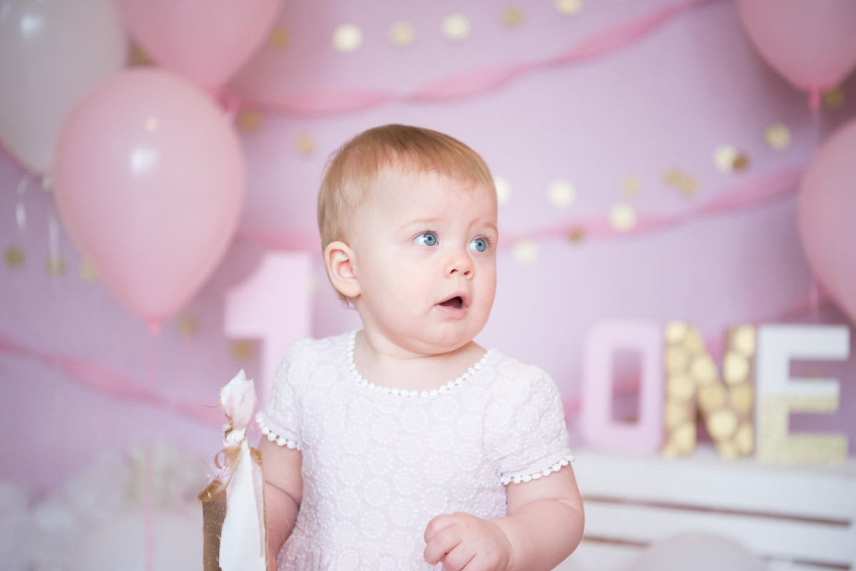pink and gold one year birthday photo shoot, Plymouth Photographer