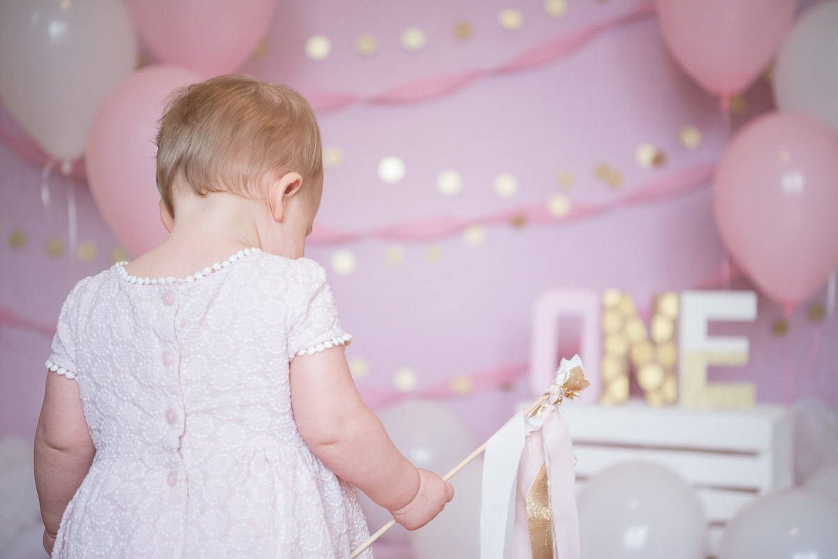 one year old with pink glitter background, South Lyon Photography