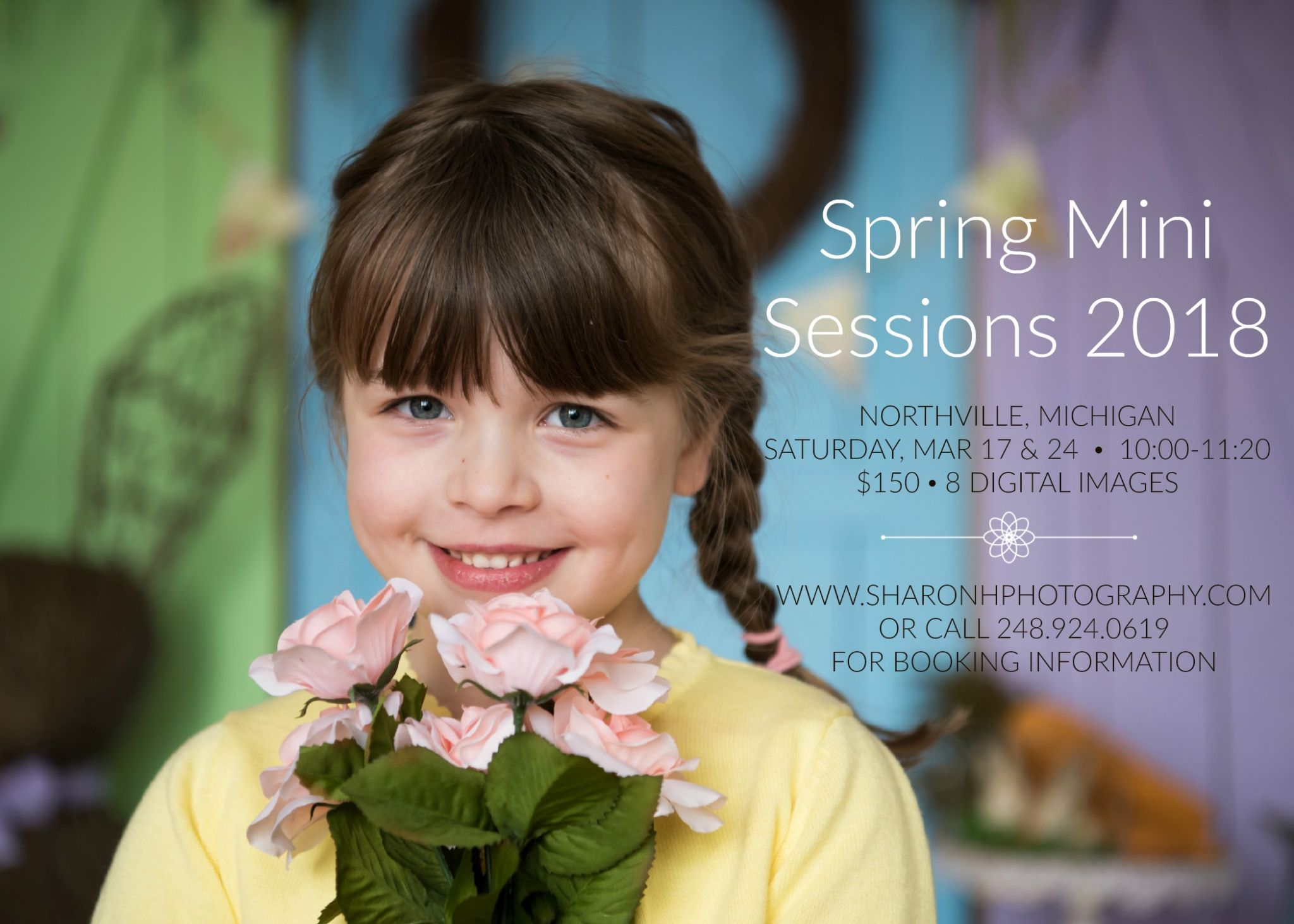 smiling young girl holding flowers, spring mini session photographer