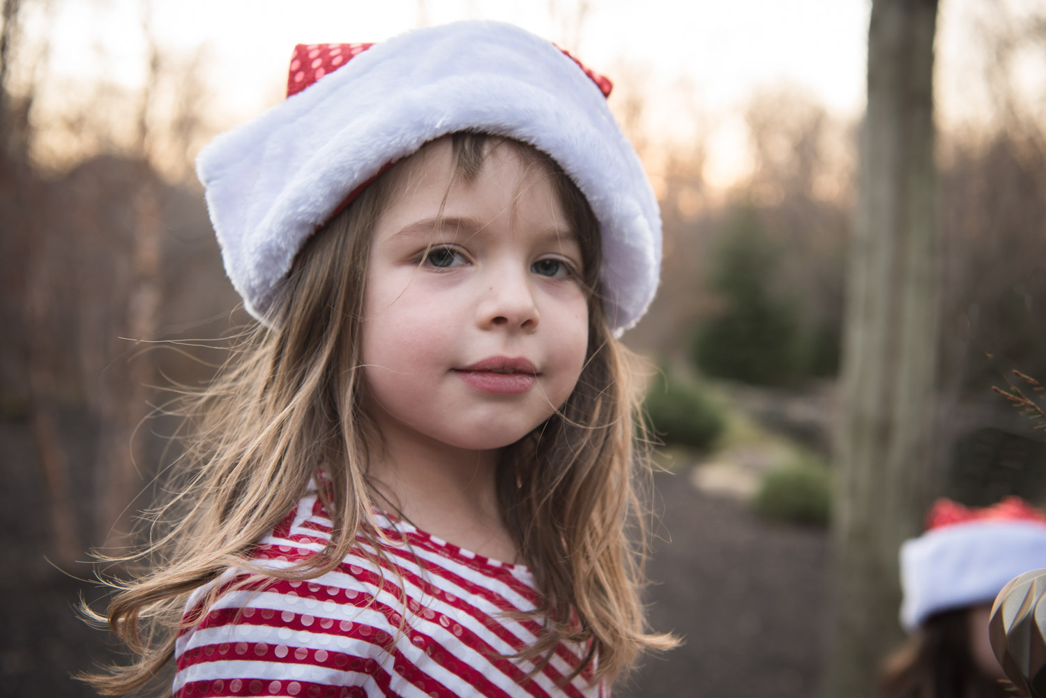 young girl in santa hat, Northville MI Photographer