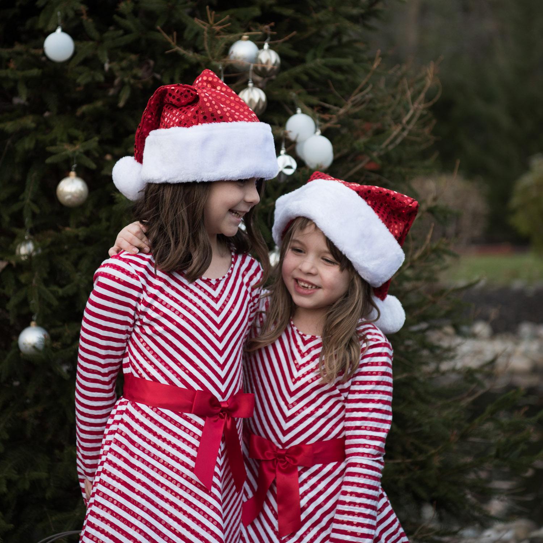 livonia photographer, christmas sisters hugging