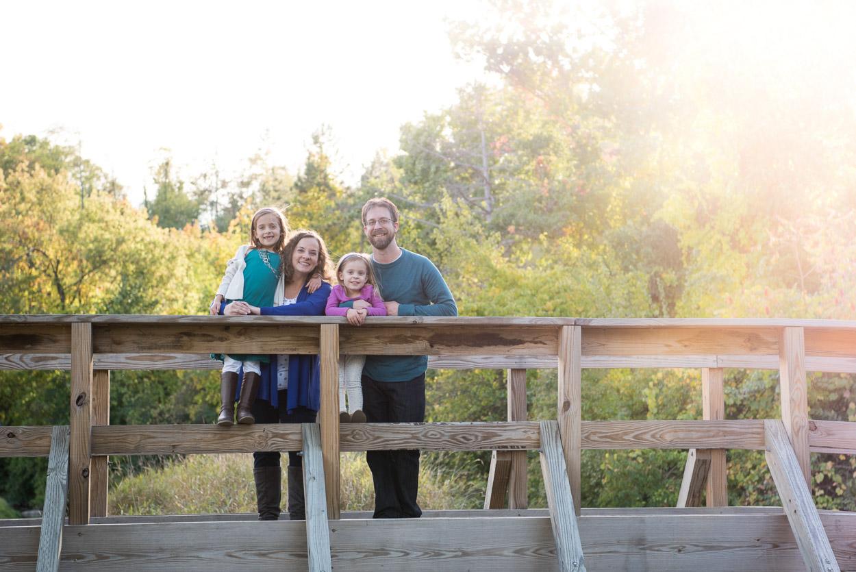 Ann Arbor Family Photography, Family on a bridge